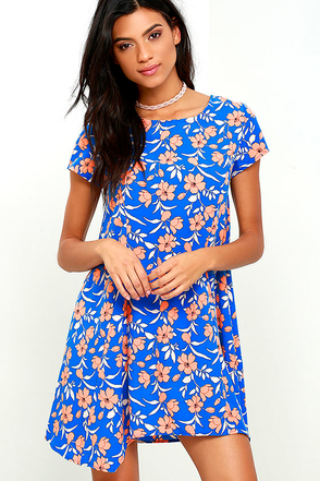 Garden Party Blue Floral Print Dress at Lulus.com!