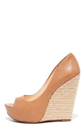 Jessica Simpson Bethani Buff Leather Peep-Toe Wedges at Lulus.com!