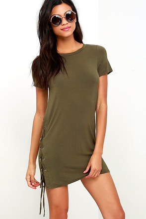 Chic Your Fortune Olive Green Lace-Up Shift Dress at Lulus.com!
