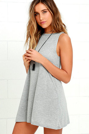 Billabong Last Call Heather Grey Swing Dress at Lulus.com!