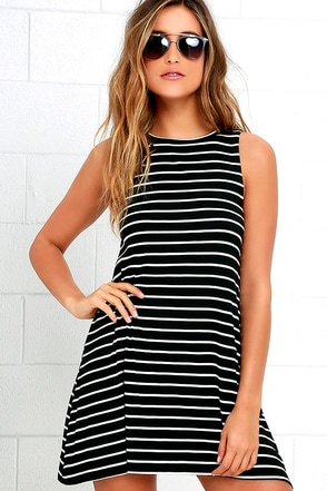 Billabong Last Call Ivory and Black Striped Swing Dress at Lulus.com!