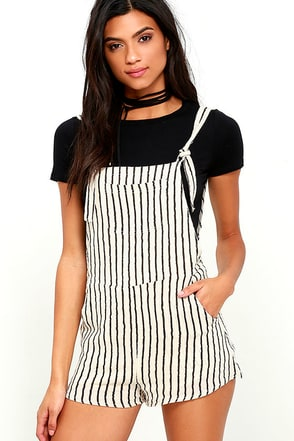 Billabong Sunny Dazer Black and Cream Striped Romper at Lulus.com!