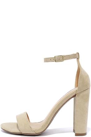Social Scene Nude Suede Ankle Strap Heels at Lulus.com!