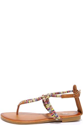 Festivities Camel Guatemala Print Thong Sandals at Lulus.com!