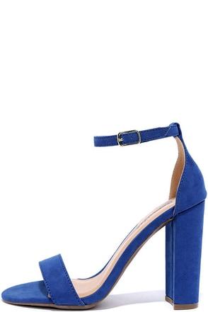 Social Scene Blue Suede Ankle Strap Heels at Lulus.com!