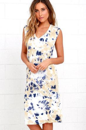 Obey Austin Beige Tie-Dye Midi Dress at Lulus.com!