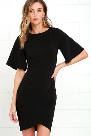 Business Lunch Black Midi Dress at Lulus.com!