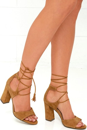 Report Mariachi Tan Suede Leather Lace-Up Heels at Lulus.com!
