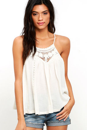 Billabong Midsummer Tides Cream Crochet Top at Lulus.com!