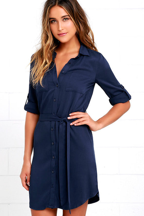 Acts of Love Grey Shirt Dress at Lulus.com!