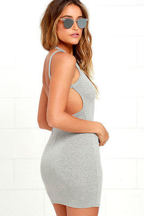 Flaunt What You Got Heather Grey Backless Bodycon Dress at Lulus.com!