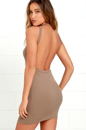 Flaunt What You Got Brown Backless Bodycon Dress at Lulus.com!