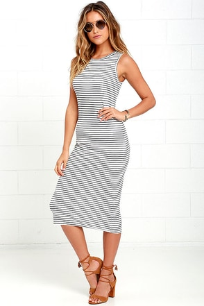 Olive & Oak Baylee Ivory and Navy Blue Striped Midi Dress at Lulus.com!