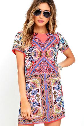 Sangria Coral Pink Tile Print Shift Dress 1