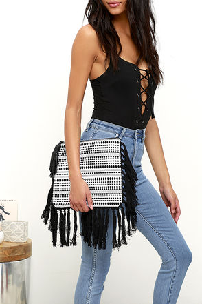 World Over Black and White Print Clutch at Lulus.com!