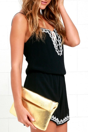 Air of Sophistication Gold Clutch at Lulus.com!