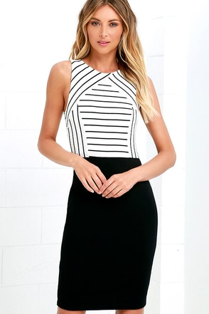 Drawing Board Black and Ivory Striped Midi Dress at Lulus.com!