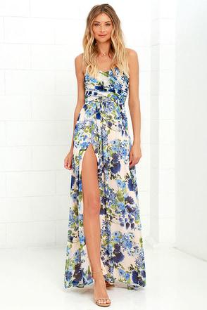 Sweet Symphony Blue Floral Print Strapless Maxi Dress at Lulus.com!