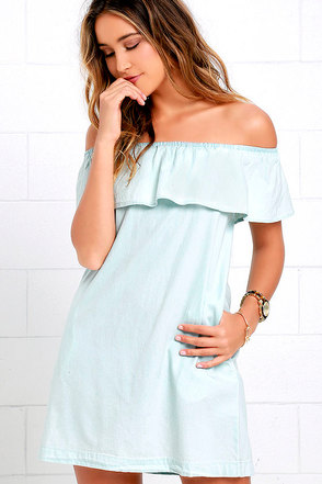 Western Dreams Light Blue Off-the-Shoulder Chambray Dress at Lulus.com!