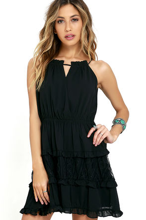 JOA Sweet Intentions Black Lace Dress at Lulus.com!