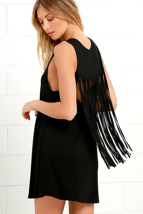 Adriana Black Fringe Swing Dress at Lulus.com!