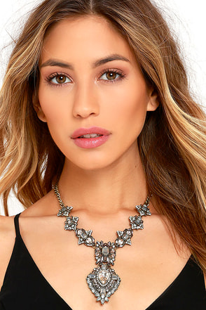 My Queen Clear Rhinestone Statement Necklace at Lulus.com!