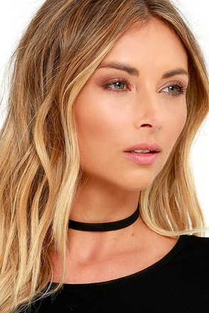 Love Connection Black Suede Choker at Lulus.com!