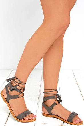 Street Fair Grey Suede Lace-Up Sandals at Lulus.com!