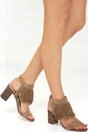 Restricted Kissy Whiskey Suede Leather Fringe Heels at Lulus.com!