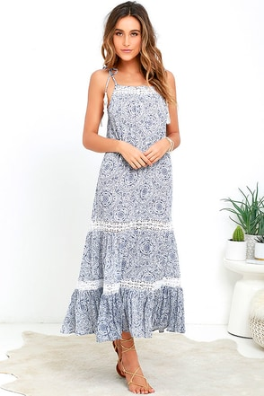 Unknown Island Blue and Ivory Print Lace Maxi Dress at Lulus.com!