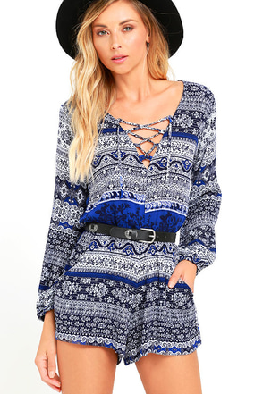 Lucy Love Spa Weekend Blue Print Lace-Up Romper at Lulus.com!