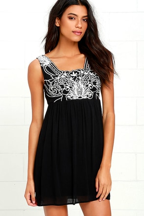 Weekend Plans Black Embroidered Dress at Lulus.com!