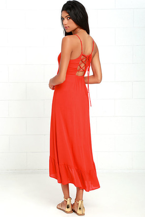 Wild Waves Red Lace-Up Midi Dress at Lulus.com!