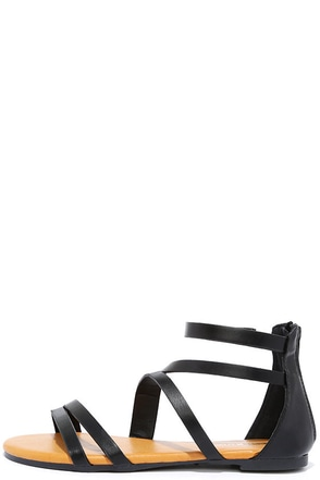 Next Stop Black Flat Sandals at Lulus.com!