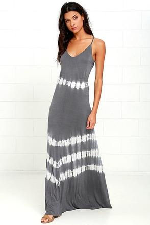 Olive & Oak Misty Morning Dark Grey Tie-Dye Maxi Dress at Lulus.com!