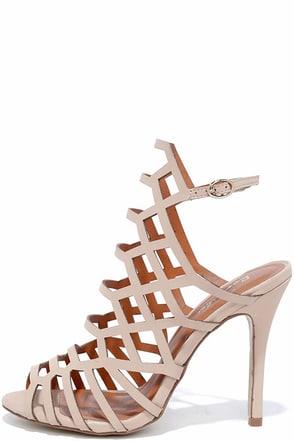 Option One Nude Nubuck Caged Heels at Lulus.com!