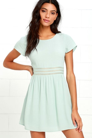 Funky Fresh Sage Green Mesh Dress at Lulus.com!