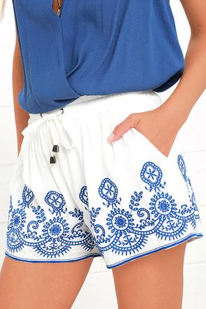 Hazel Mazatlan Blue and Ivory Shorts at Lulus.com!