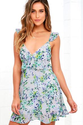 Garden Keeper Blue Floral Print Dress at Lulus.com!