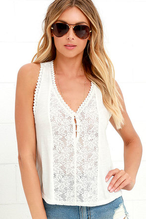 Billabong Give Love Cream Lace Top at Lulus.com!
