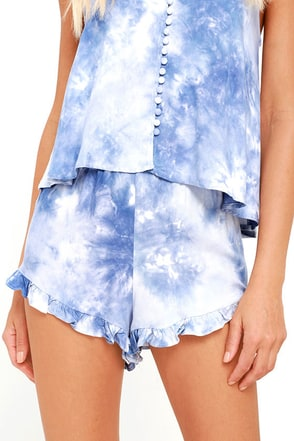 Turks and Caicos Blue Tie-Dye Shorts at Lulus.com!