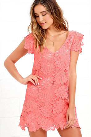 BB Dakota Jacqueline Coral Pink Lace Shift Dress at Lulus.com!