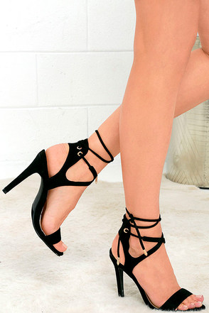 Poem Power Black Suede Lace-Up Heels at Lulus.com!