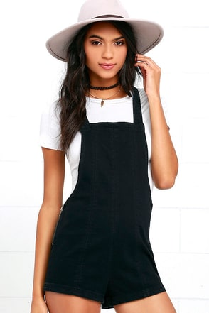 RVCA Hold It Washed Black Short Denim Overalls at Lulus.com!