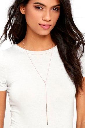 Drop a Hint Rose Gold Drop Necklace at Lulus.com!