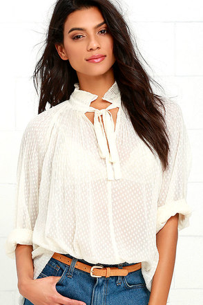 Queen for a Day Cream Long Sleeve Top at Lulus.com!