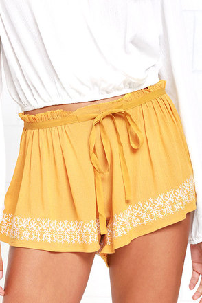 Radio Show Yellow Embroidered Shorts at Lulus.com!