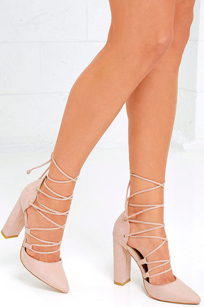 Your Girl Blush Suede Lace-Up Heels 1