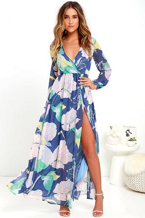 Wondrous Water Lillies Denim Blue Floral Print Maxi Dress at Lulus.com!