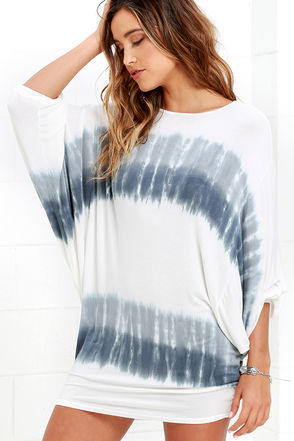 No End Grey and Ivory Tie-Dye Dress